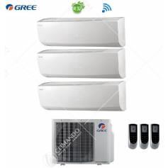Condizionatore Climatizzatore Gree Trial Split Inverter Lomo R-32 WI-FI 9000+9000+18000 Con GWHD(24)NK6LO