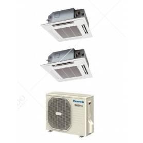 Condizionatore Climatizzatore Panasonic Dual Split Inverter a Cassetta 60x60 R-32 12000+12000 12+12 Con CU-3Z52TBE