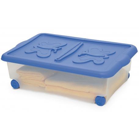 contenitore c/ruote e coperchio cm.60x40h18 confezione da 10