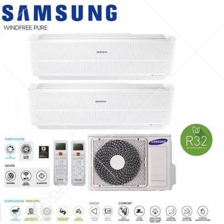 Condizionatore Climatizzatore Samsung Dual Split Inverter Windfree Pure R-32 Wi-Fi 7000+7000 BTU Con AJ040NCJ2EG/EU
