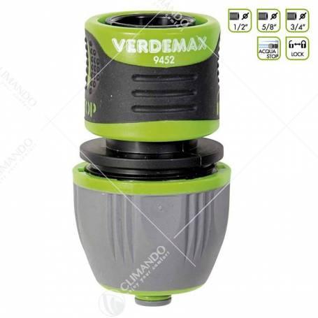 Verdemax Raccordo portagomma 1/2 - 5/8 - 3/4 acquastop lock