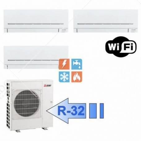 Condizionatore Mitsubishi Trial Split Inverter Serie Plus MSZ-AP Gas R-32 7000+7000+7000 Con MXZ-3F54VF Wi-Fi Optional