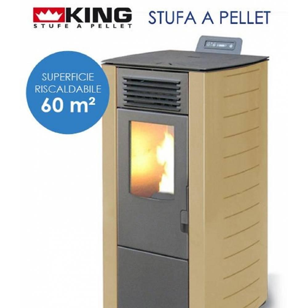 Stufa a pellet king 8 kw 7 sabbia per ambienti fino a 60 for Cancelletti per stufe a pellet