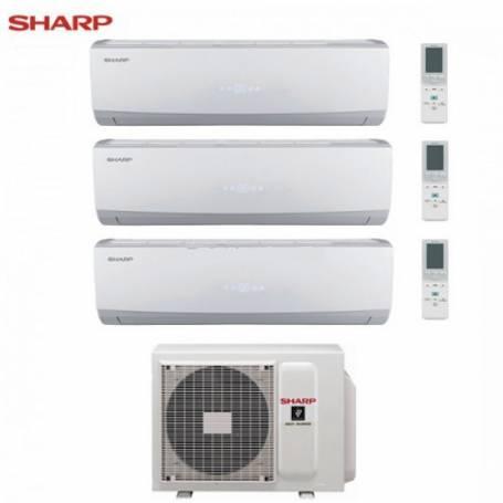 Condizionatore Climatizzatore Sharp trial split inverter Serie Smile Curve SSR 9+9+12 con AE-X3M24TR