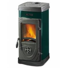 Stufa a legna in acciaio e ghisa fuoco continuo La Nordica Extraflame mod. Super Junior 5 kW verde