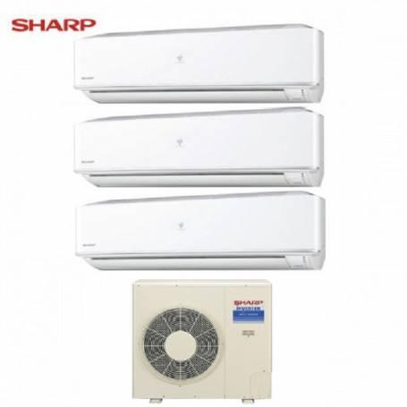 Condizionatore Climatizzatore Sharp dual split Hi Wall inverter Serie PHR 9+12+12 con AE-XM24HR