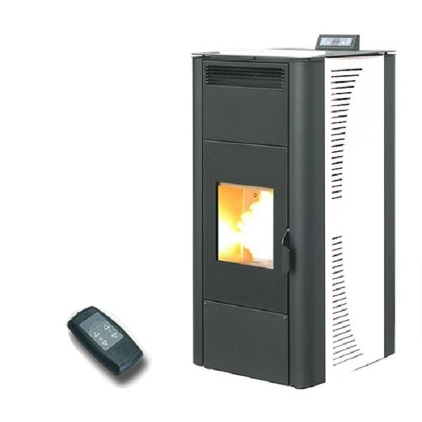 Termostufa a pellet king idro 24 kw bianca con telecomando for Radiatori a gas argo
