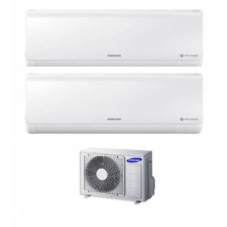 Condizionatore Climatizzatore Samsung dual split inverter 9+12 Serie New Style 9000+12000 BTU con AJ040FCJ2EH/EU