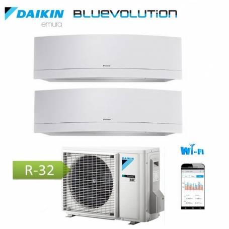 Condizionatore Climatizzatore Daikin dual split inverter 9+12 Emura White Wi-Fi R-32 Bluevolution 9000+12000 BTU con 2MXM50M