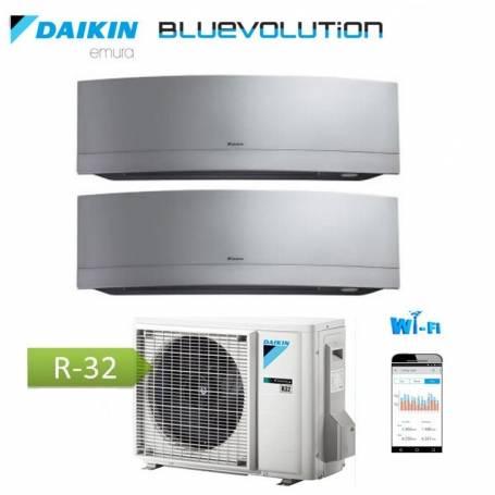Condizionatore Climatizzatore Daikin dual split inverter 9+12 Emura Silver Wi-Fi R-32 Bluevolution 9000+12000 BTU con 2MXM50M