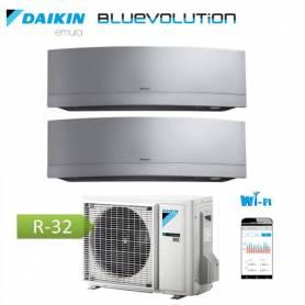 Condizionatore Climatizzatore Daikin dual split inverter 12+12 Emura Silver Wi-Fi R-32 Bluevolution 12000+12000 BTU con 2MXM50M