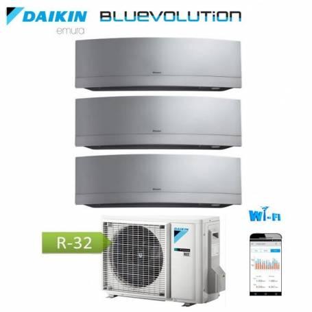 Condizionatore Climatizzatore Daikin inverter Serie Emura Silver Wi-Fi R-32 Bluevolution 7+9+12 con 3MXM52M 7000+9000+12000 BTU
