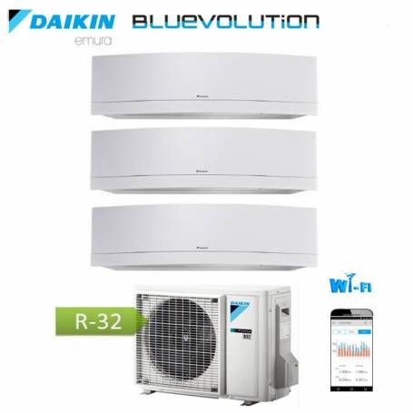 Condizionatore Climatizzatore Daikin inverter Serie Emura White Wi-Fi R-32 Bluevolution 7+9+9 con 3MXM52M 7000+9000+9000 BTU