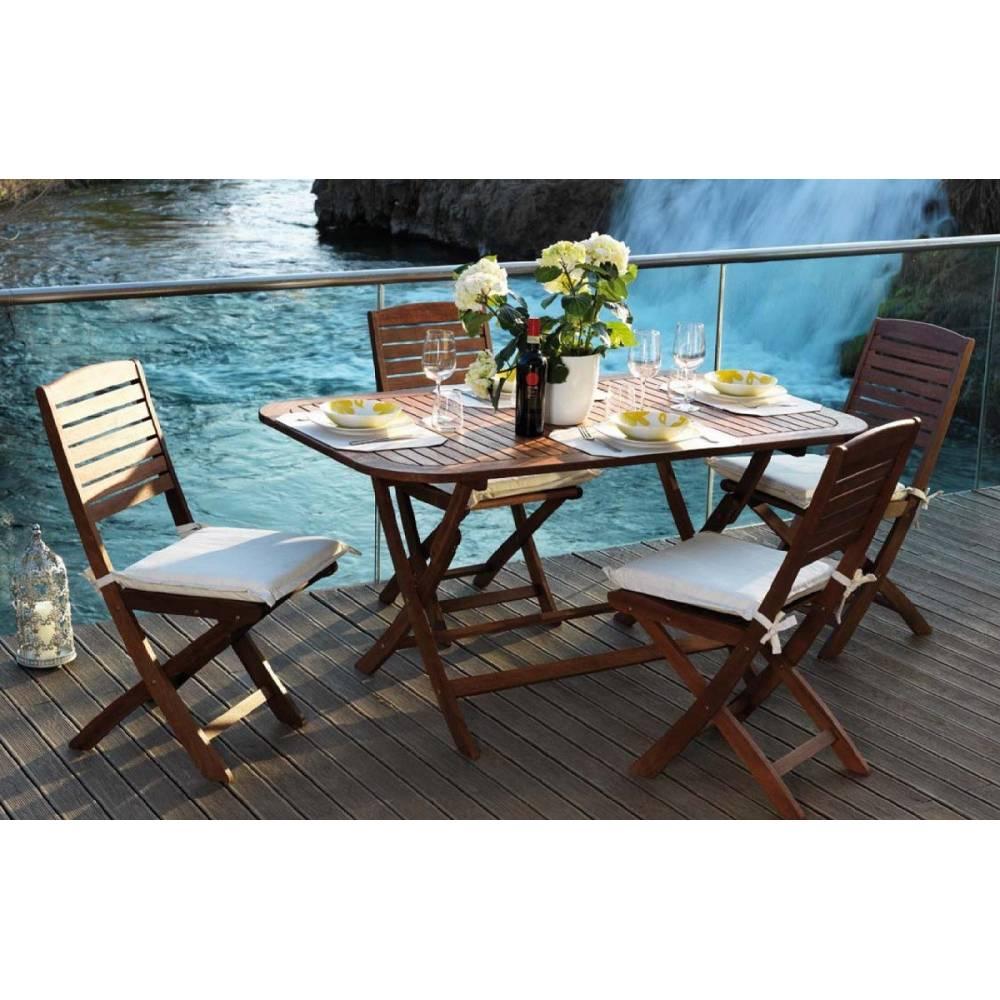 Tavolo da esterno giardino tondo in legno balau pieghevole for Tavolo legno esterno