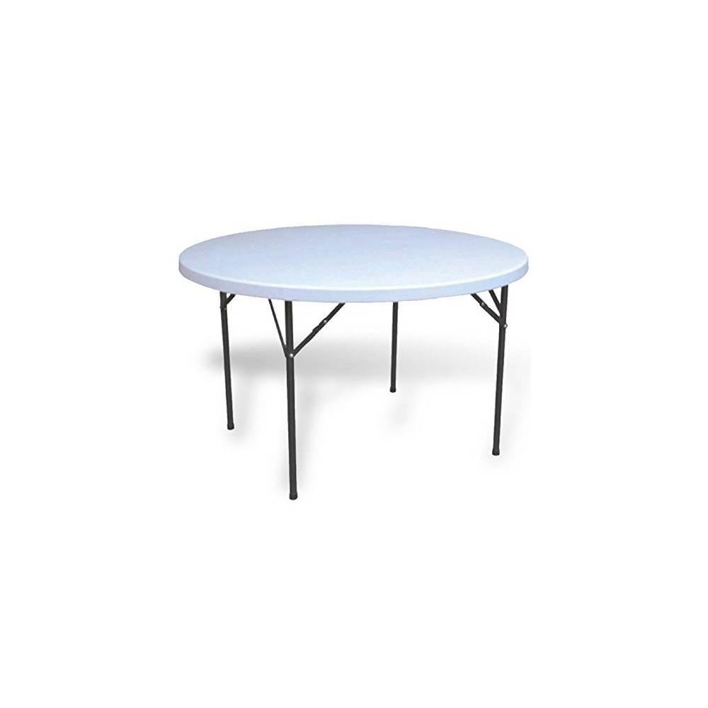 Tavolo da esterno giardino tondo pieghevole in acciaio e for Tavolo da esterno pieghevole