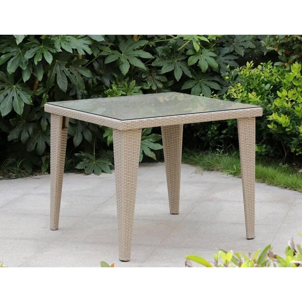 Tavolo da esterno giardino in rattan con vetro mod mafalda cm 90x90x75h beige - Tavolo in rattan da giardino ...
