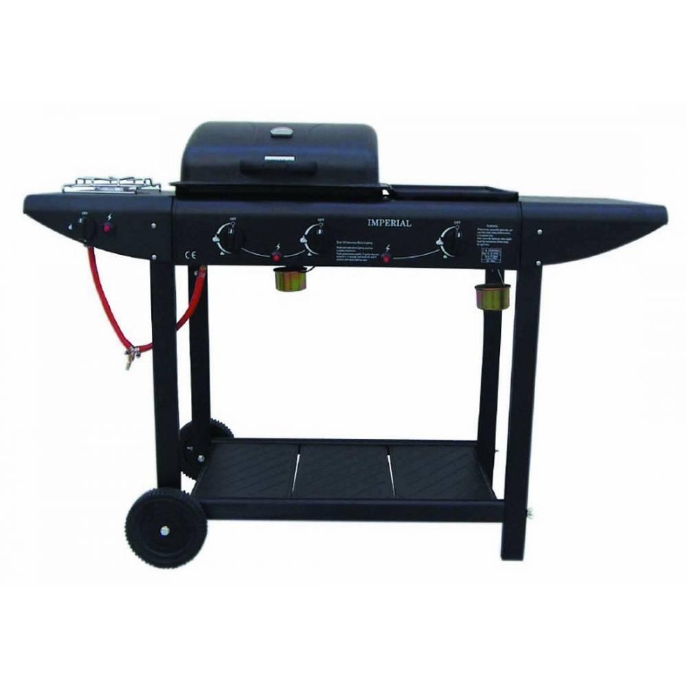 Barbecue a gas da giardino con fornello laterale e piastra - Barbecue da giardino in pietra ...