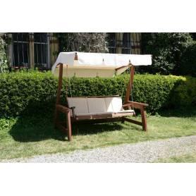 Dondolo da giardino a 3 posti in legno meranti completo di cuscini Mod. Deluxe 210x107x185h