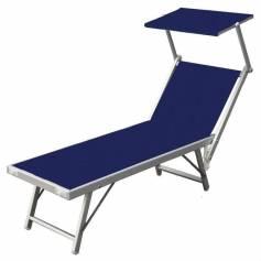 Coppia Lettini prendisole in alluminio Mod. Playa con parasole colore blu