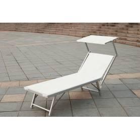Coppia Lettino prendisole in alluminio Mod. Playa con parasole colore bianco