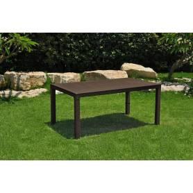 Tavolo da esterno giardino in resina antiurto effetto Polirattan Mod. Melody cm 160x94x74h marrone