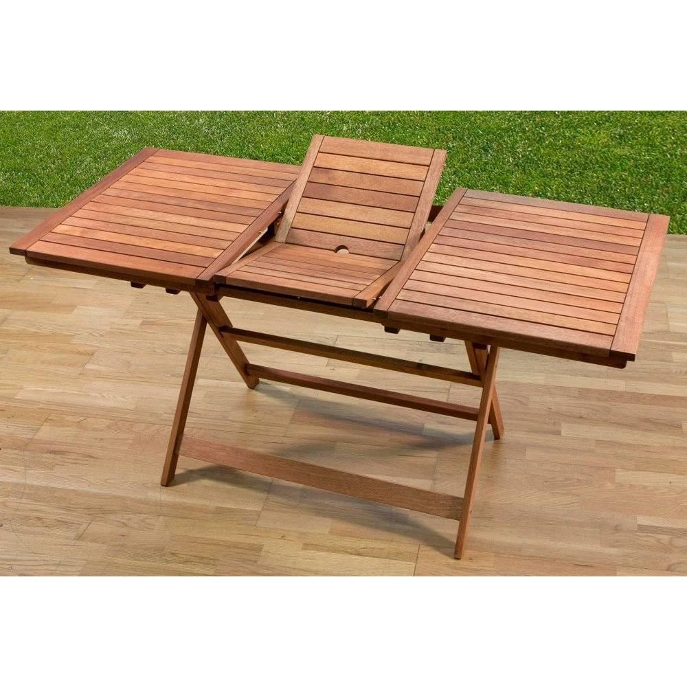 Tavolo da esterno giardino in legno meranti allungabile cm 120 160x70 - Tavolo giardino pieghevole ...