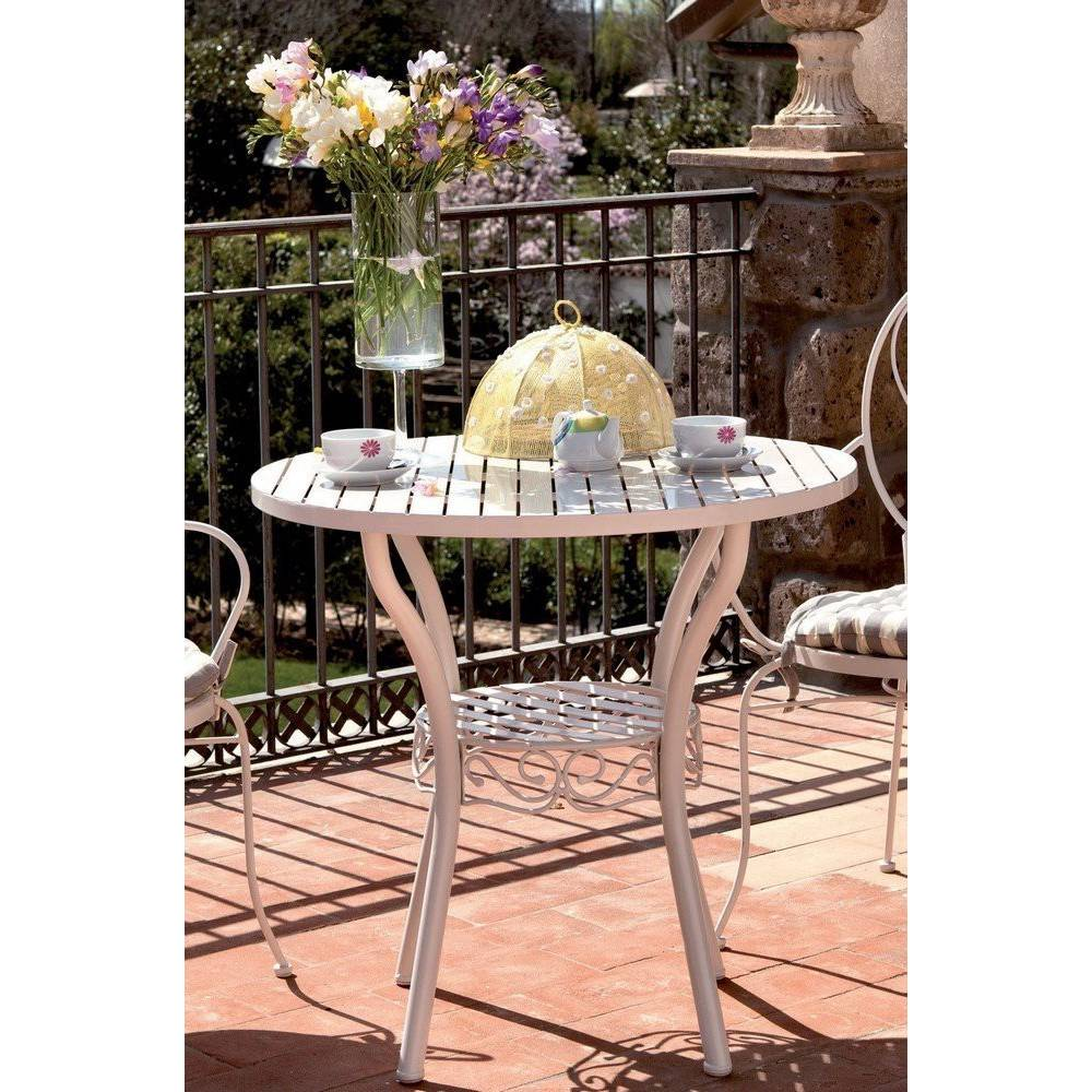 Tavolo da esterno giardino in ferro battuto verniciato mod naomi cm 80x75h colore bianco - Tavolo in ferro battuto da giardino ...