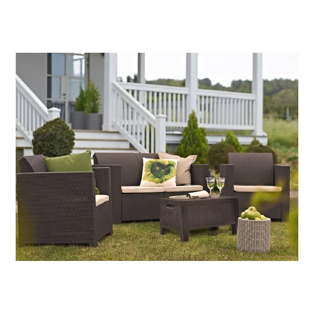 Salotto da esterno giardino completo divano poltrone tavolino mod duet set colore cappuccino - Divano in resina da esterno ...