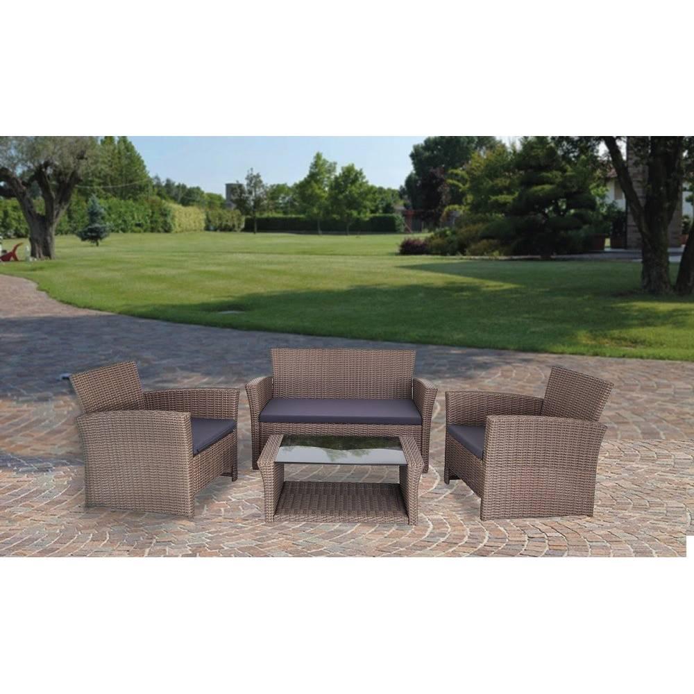 Salotto da esterno giardino completo divano poltrone tavolino mod praga - Poltrone da giardino usate ...