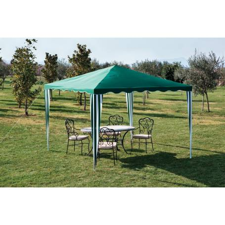 Gazebo in ferro con top in poliestere cm 300x300x250h colore verde