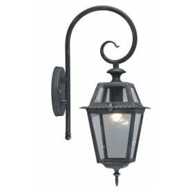 Lanterna da esterno in alluminio con braccio cm 20x20x50h Serie Milano colore grigio ghisa