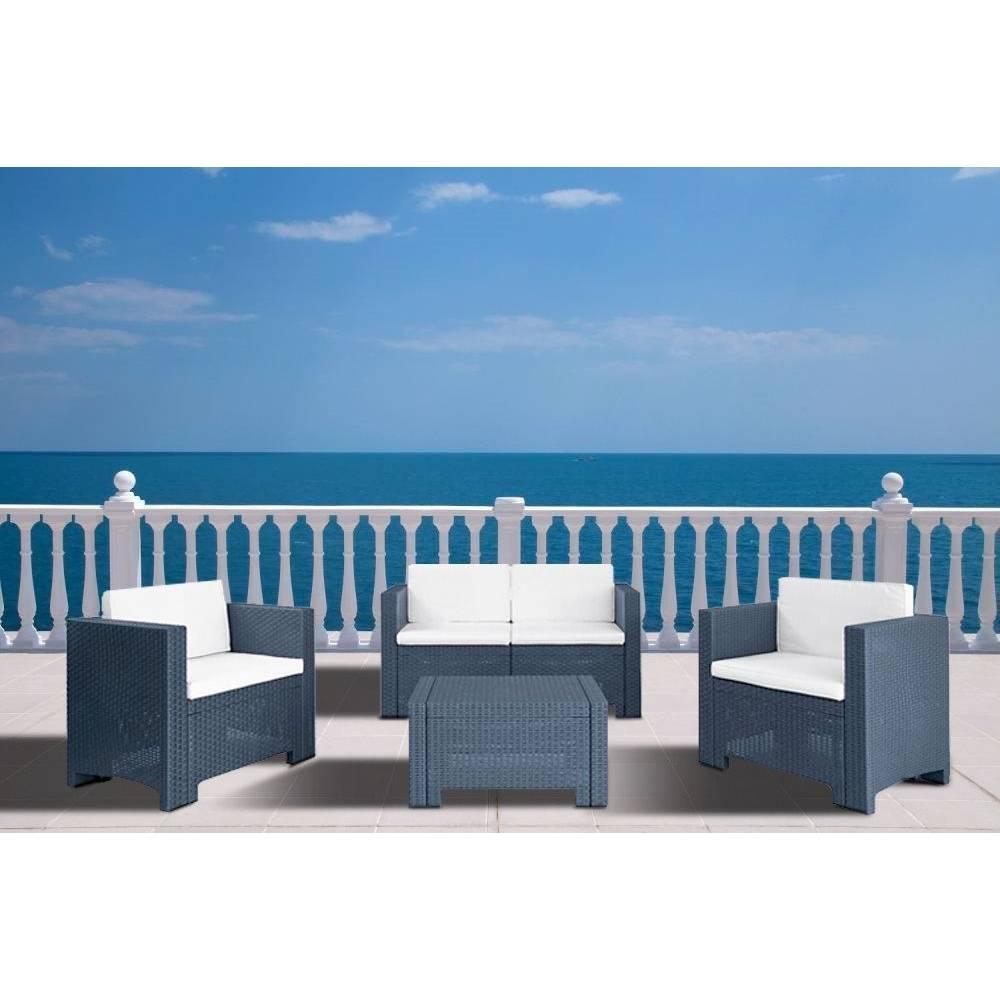 Salotto da esterno giardino completo divano poltrone tavolino mod capri colore antracite - Divano in resina da esterno ...