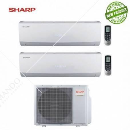 Condizionatore Sharp Dual Split Inverter serie Smile Curve SSR 9000+18000 Con AE-X2M24TR