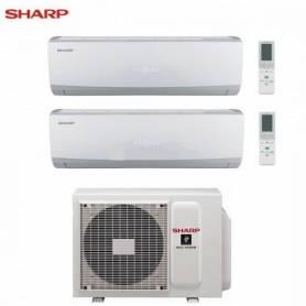 Condizionatore Climatizzatore Sharp Dual Split Inverter serie Smile Curve SSR 12000+12000 Con AE-X2M18TR