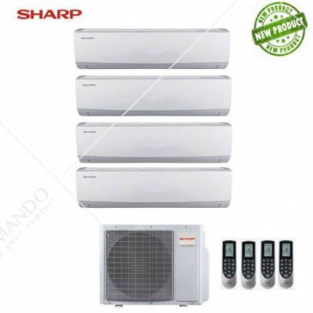 Condizionatore Sharp Quadri Split Inverter Serie Smile Curve SSR 9+9+9+9 Con AE-X4M28TR - Modello 2017