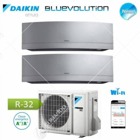 Condizionatore Daikin Dual Split Inverter Serie Emura Silver Wi-Fi R-32 Bluevolution 7000+7000 Con 2MXM40M