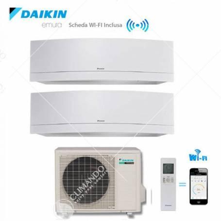 Condizionatore Climatizzatore Daikin Dual Split Inverter Emura White Wi-Fi 7000+9000 Con 2MXS40H