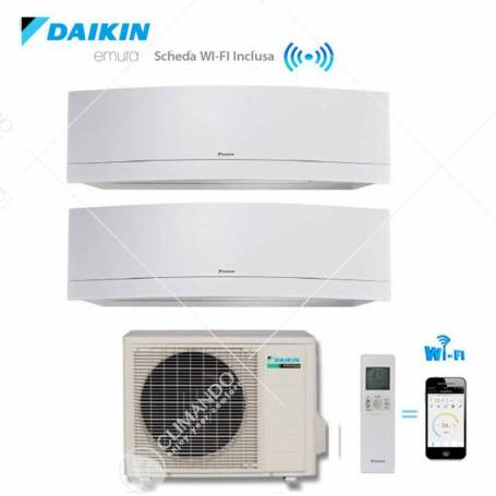 Condizionatore Daikin Dual Split Inverter Emura White Wi-Fi 7000+9000 Con 2MXS40H