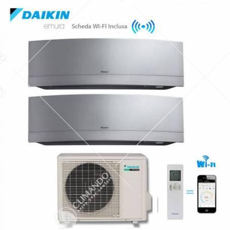 Condizionatore Climatizzatore Daikin Dual Split Inverter Emura Silver Wi-Fi 7000+12000 Con 2MXS50H