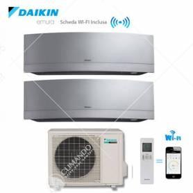 Condizionatore Climatizzatore Daikin Dual Split Inverter Emura Silver Wi-Fi 7000+12000 Con 2MXS40H