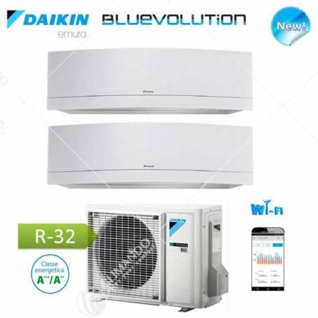 Condizionatore Daikin Dual Split Inverter Serie Emura White Wi-Fi R-32 Bluevolution 7000+12000 Con 2MXM50M