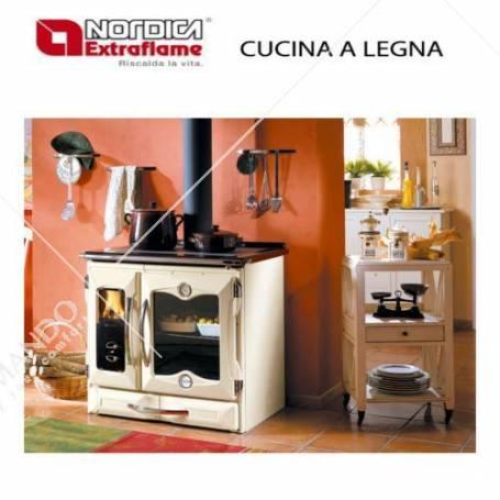 Cucina a legna in ghisa smaltata la nordica extraflame mod suprema crema 8 kw - Cucina in ghisa ...