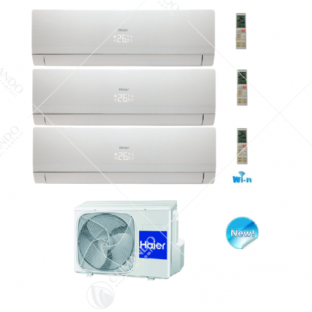 Condizionatore Trial Split Inverter Haier Nebula White 7000+7000+7000 WIFI Ready +3U19FS1ERA
