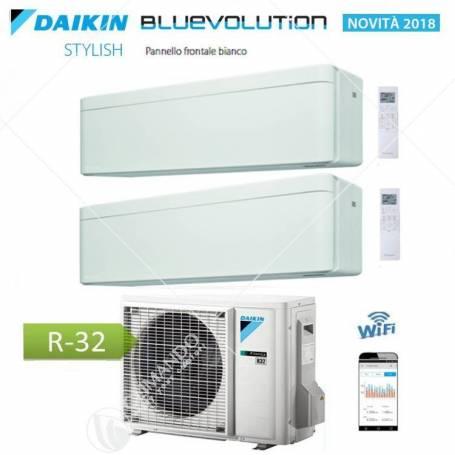 Condizionatore Daikin Bluevolution Dual Split Inverter Stylish White R-32 WI-FI 7000+9000 Con 2MXM40M