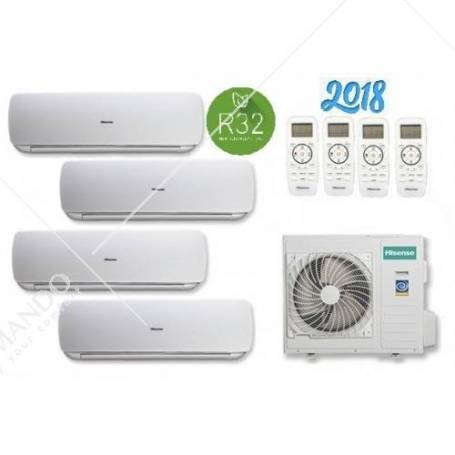 Condizionatore Hisense Quadri Split Inverter Mini Apple Pie R-32 9000+9000+9000+9000 WI-FI Con 4AMW81U4RAA