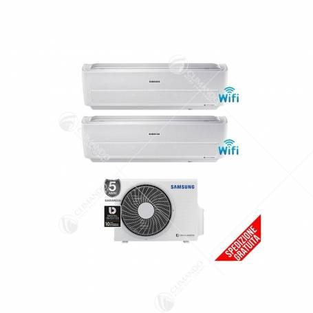 Condizionatore Climatizzatore Samsung inverter Dual Split 7000+7000 Serie Windfree Light R-32 Smart WIFi Con AJ040NCJ2EG/EU