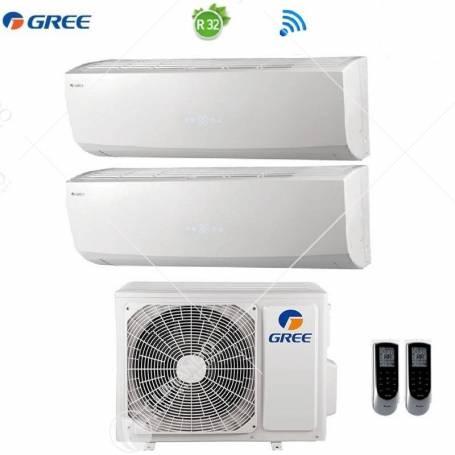 Condizionatore Climatizzatore Gree Dual Split Inverter Lomo R-32 WI-FI 7000+7000 Con GWHD(14)NK6LO