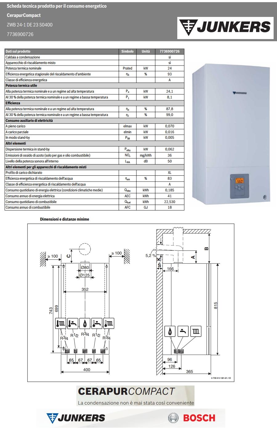 Caldaia Junkers Cerapur Compact Zwb 24 1 De A Condensazione Erp